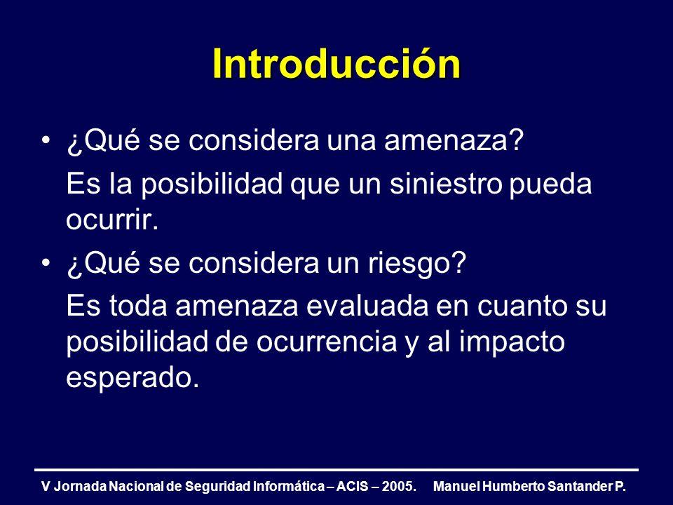 Introducción V Jornada Nacional de Seguridad Informática – ACIS – 2005. Manuel Humberto Santander P. ¿Qué se considera una amenaza? Es la posibilidad