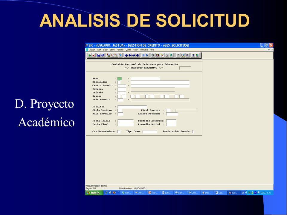 E. Plan Desembolsos ANALISIS DE SOLICITUD