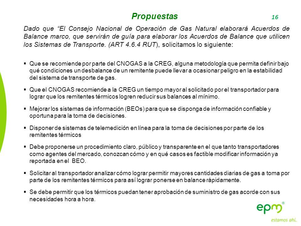 16 Propuestas Dado que El Consejo Nacional de Operación de Gas Natural elaborará Acuerdos de Balance marco, que servirán de guía para elaborar los Acu