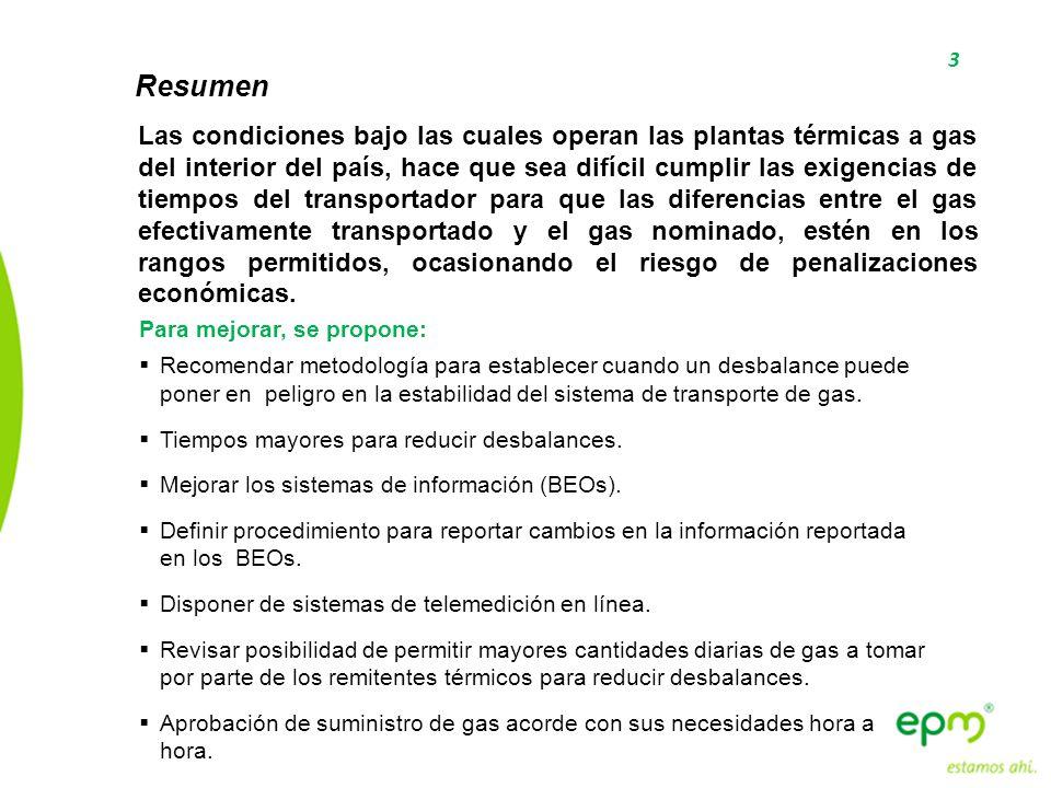 3 Resumen Las condiciones bajo las cuales operan las plantas térmicas a gas del interior del país, hace que sea difícil cumplir las exigencias de tiem