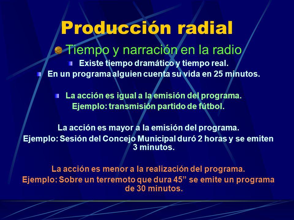 Producción radial Tiempo y narración en la radio Existe tiempo dramático y tiempo real. En un programa alguien cuenta su vida en 25 minutos. La acción