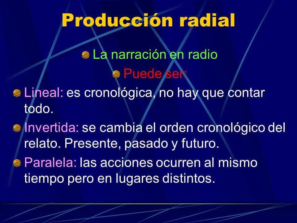 Producción radial La narración en radio Puede ser: Lineal: es cronológica, no hay que contar todo. Invertida: se cambia el orden cronológico del relat
