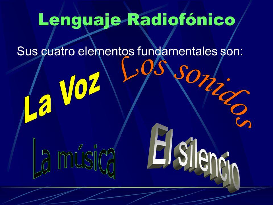 Lenguaje Radiofónico Sus cuatro elementos fundamentales son:
