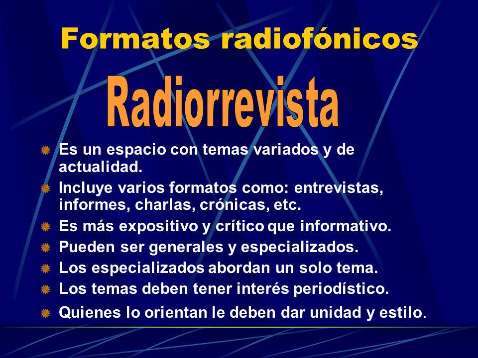 Formatos radiofónicos Es un espacio con temas variados y de actualidad. Incluye varios formatos como: entrevistas, informes, charlas, crónicas, etc. E
