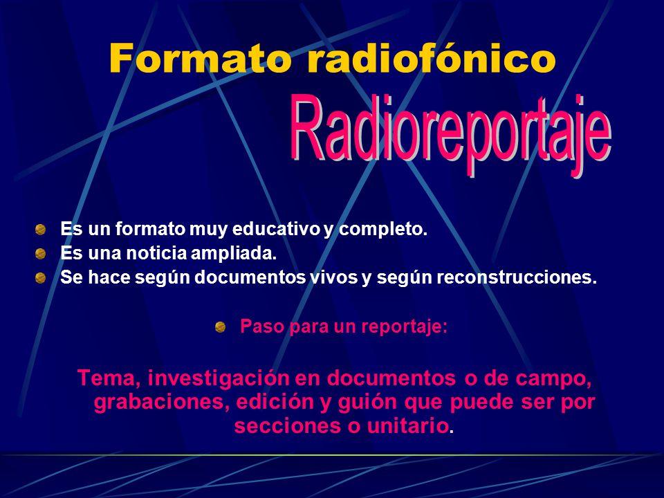 Formato radiofónico Es un formato muy educativo y completo. Es una noticia ampliada. Se hace según documentos vivos y según reconstrucciones. Paso par