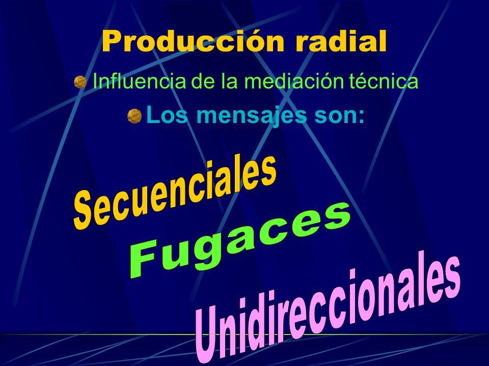 Producción radial Influencia de la mediación técnica Los mensajes son: