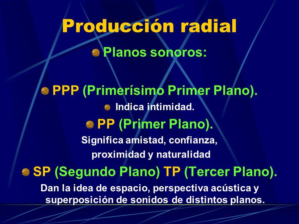 Producción radial Planos sonoros: PPP (Primerísimo Primer Plano). Indica intimidad. PP (Primer Plano). Significa amistad, confianza, proximidad y natu