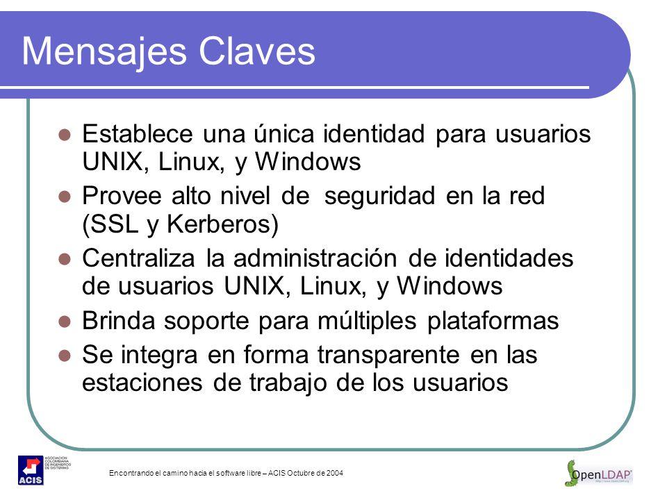 Encontrando el camino hacia el software libre – ACIS Octubre de 2004 Mensajes Claves Establece una única identidad para usuarios UNIX, Linux, y Window