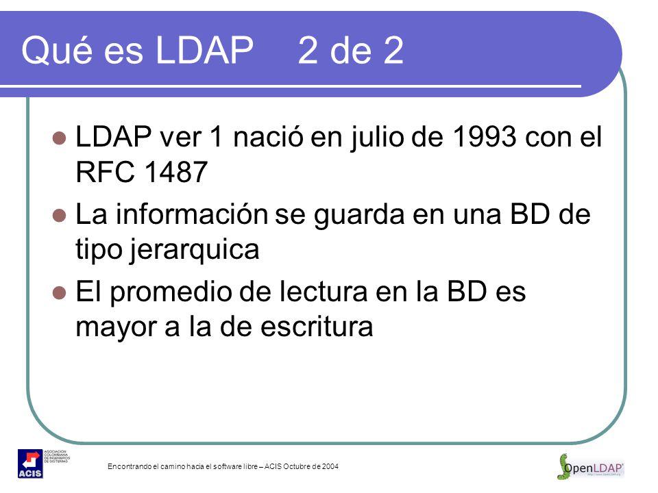 Encontrando el camino hacia el software libre – ACIS Octubre de 2004 Qué es LDAP 2 de 2 LDAP ver 1 nació en julio de 1993 con el RFC 1487 La informaci