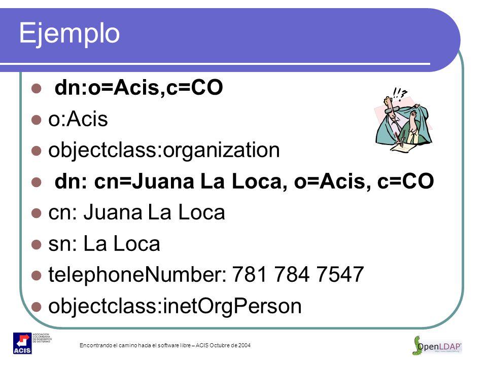 Encontrando el camino hacia el software libre – ACIS Octubre de 2004 Ejemplo dn:o=Acis,c=CO o:Acis objectclass:organization dn: cn=Juana La Loca, o=Ac