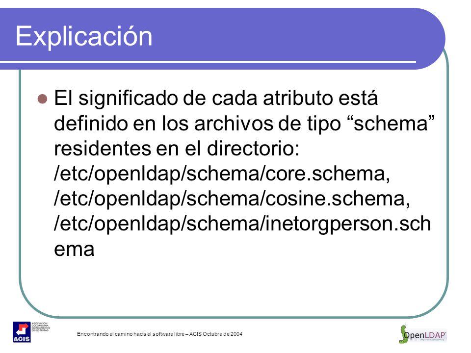 Encontrando el camino hacia el software libre – ACIS Octubre de 2004 Explicación El significado de cada atributo está definido en los archivos de tipo