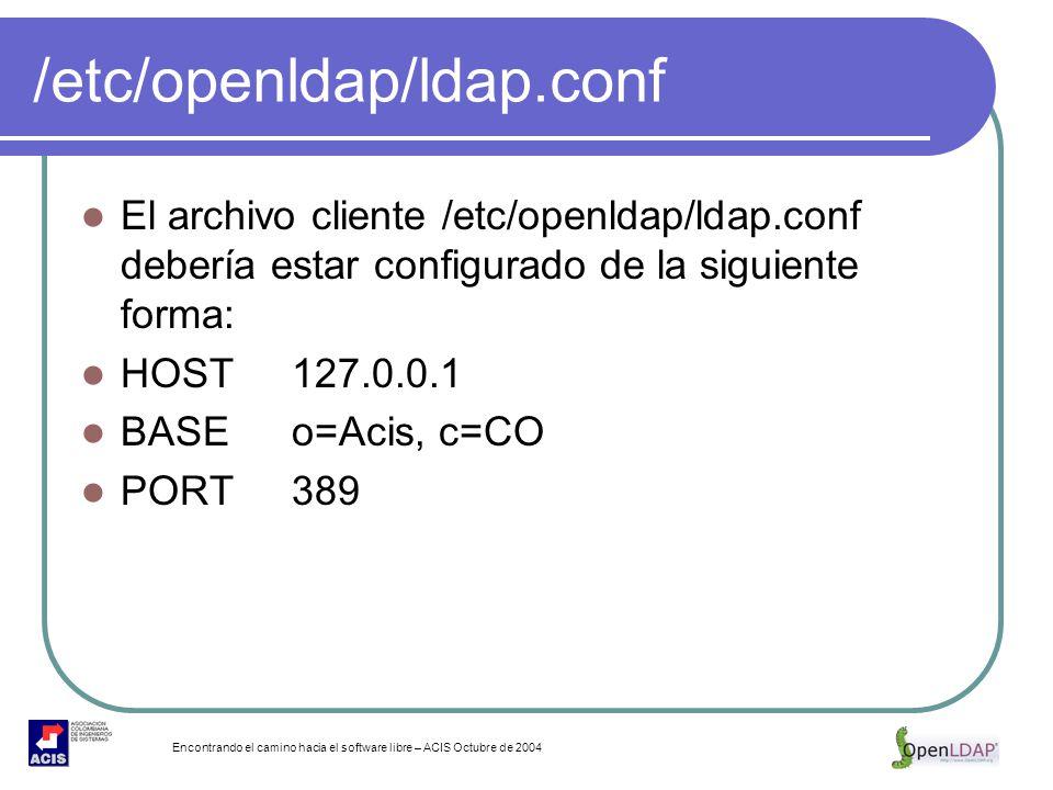 Encontrando el camino hacia el software libre – ACIS Octubre de 2004 /etc/openldap/ldap.conf El archivo cliente /etc/openldap/ldap.conf debería estar