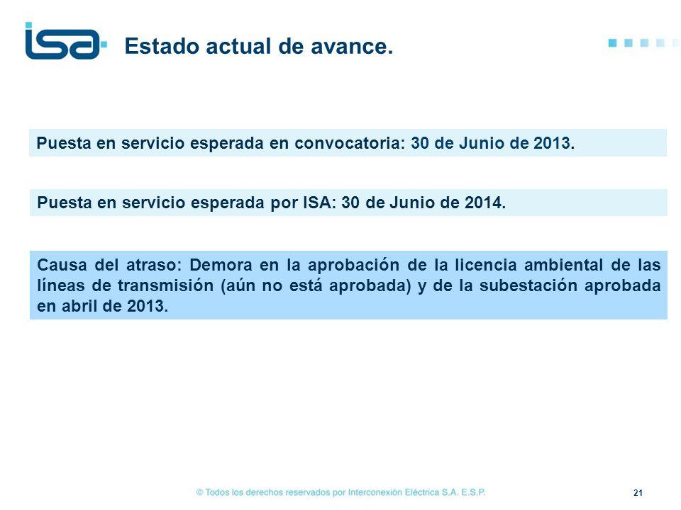 21 Estado actual de avance. Puesta en servicio esperada en convocatoria: 30 de Junio de 2013. Causa del atraso: Demora en la aprobación de la licencia