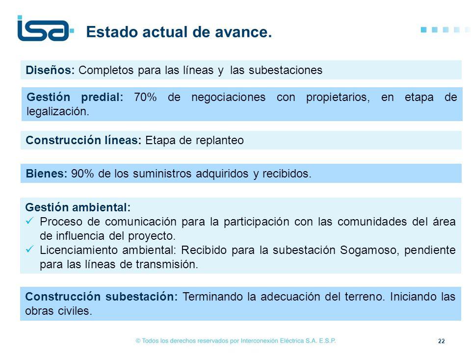 22 Estado actual de avance. Diseños: Completos para las líneas y las subestaciones Gestión ambiental: Proceso de comunicación para la participación co