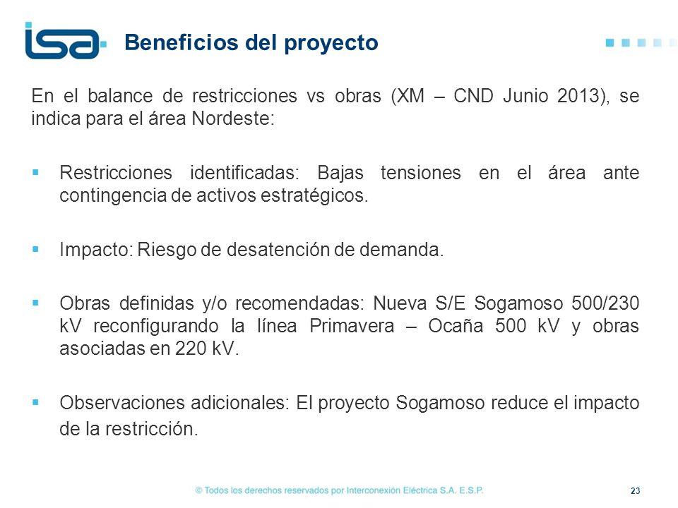 Beneficios del proyecto En el balance de restricciones vs obras (XM – CND Junio 2013), se indica para el área Nordeste: Restricciones identificadas: B