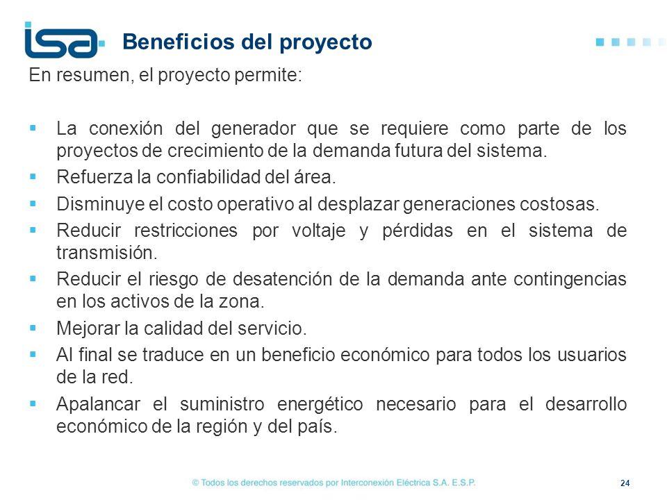 Beneficios del proyecto En resumen, el proyecto permite: La conexión del generador que se requiere como parte de los proyectos de crecimiento de la de