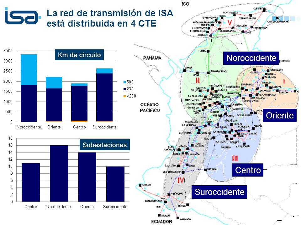 © Todos los derechos reservados por Interconexión Eléctrica S.A. E.S.P. La red de transmisión de ISA está distribuida en 4 CTE Noroccidente Centro Ori