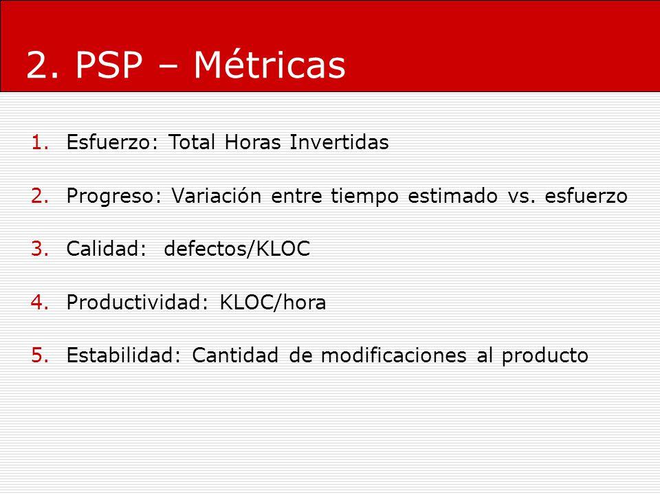 2. PSP – Métricas 1.Esfuerzo: Total Horas Invertidas 2.Progreso: Variación entre tiempo estimado vs. esfuerzo 3.Calidad: defectos/KLOC 4.Productividad