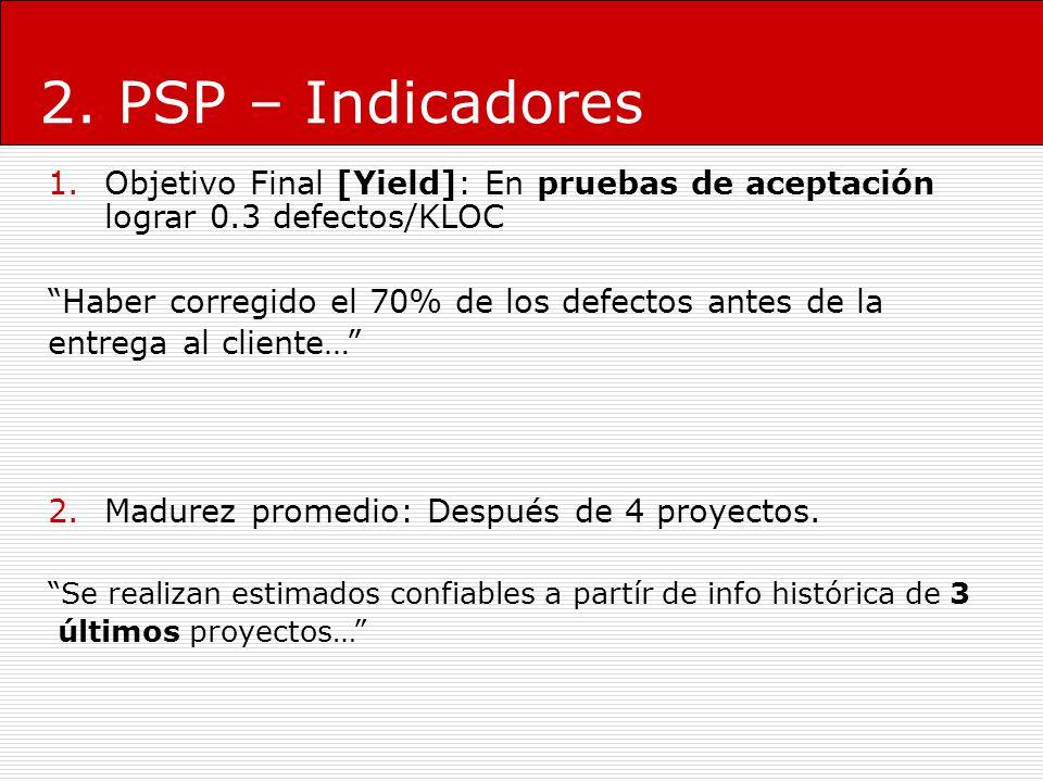 2. PSP – Indicadores 1.Objetivo Final [Yield]: En pruebas de aceptación lograr 0.3 defectos/KLOC Haber corregido el 70% de los defectos antes de la en