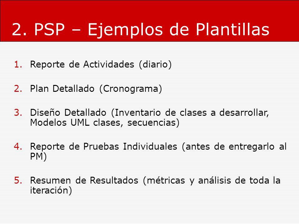 2. PSP – Ejemplos de Plantillas 1.Reporte de Actividades (diario) 2.Plan Detallado (Cronograma) 3.Diseño Detallado (Inventario de clases a desarrollar