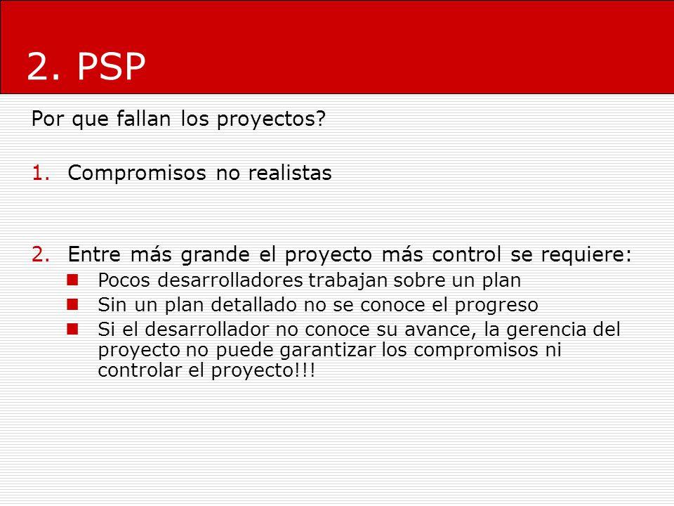 2. PSP Por que fallan los proyectos? 1.Compromisos no realistas 2.Entre más grande el proyecto más control se requiere: Pocos desarrolladores trabajan