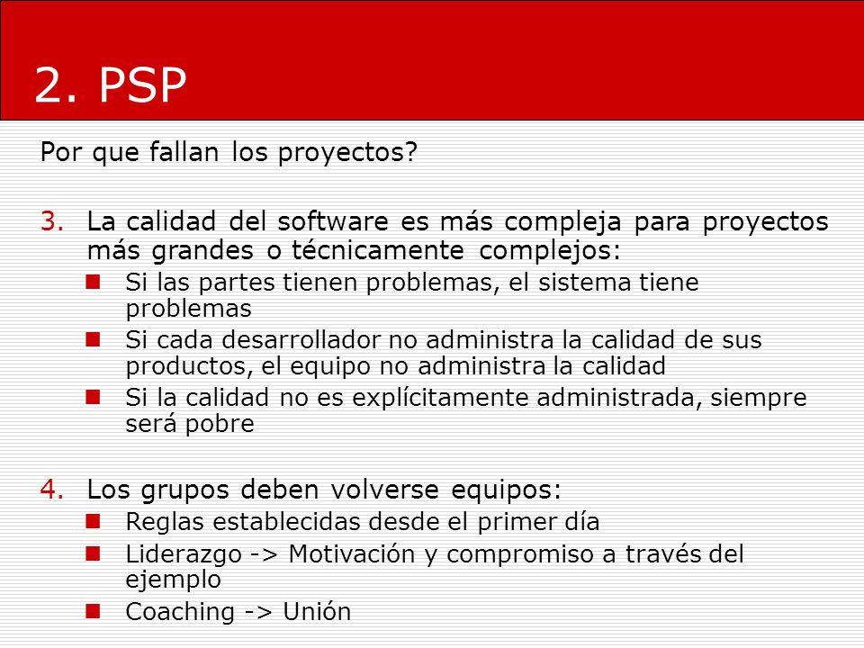 2. PSP Por que fallan los proyectos? 3.La calidad del software es más compleja para proyectos más grandes o técnicamente complejos: Si las partes tien