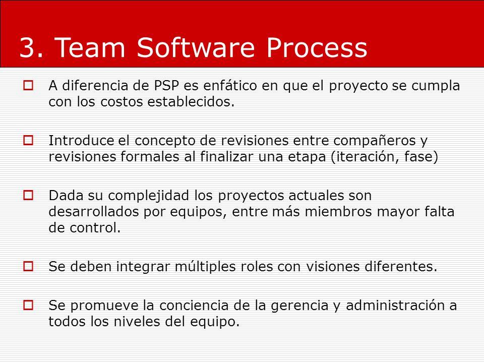 3. Team Software Process A diferencia de PSP es enfático en que el proyecto se cumpla con los costos establecidos. Introduce el concepto de revisiones