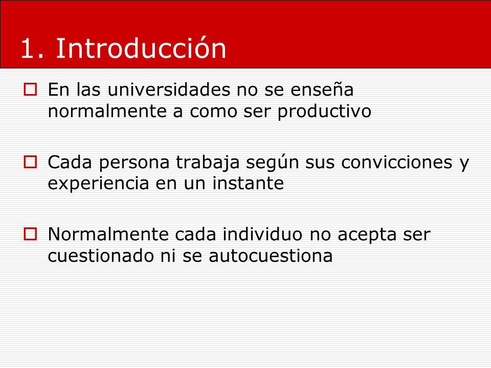 1. Introducción En las universidades no se enseña normalmente a como ser productivo Cada persona trabaja según sus convicciones y experiencia en un in