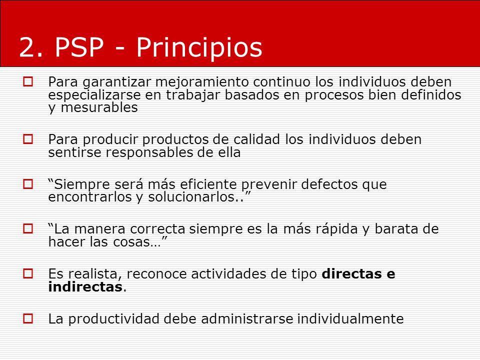 2. PSP - Principios Para garantizar mejoramiento continuo los individuos deben especializarse en trabajar basados en procesos bien definidos y mesurab