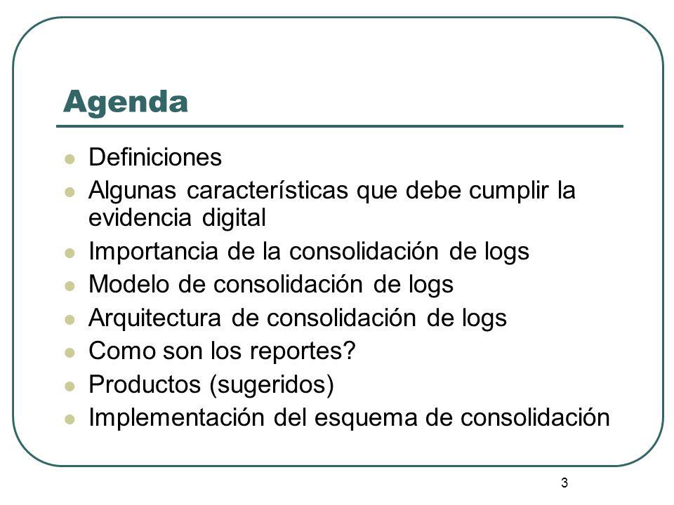 3 Agenda Definiciones Algunas características que debe cumplir la evidencia digital Importancia de la consolidación de logs Modelo de consolidación de