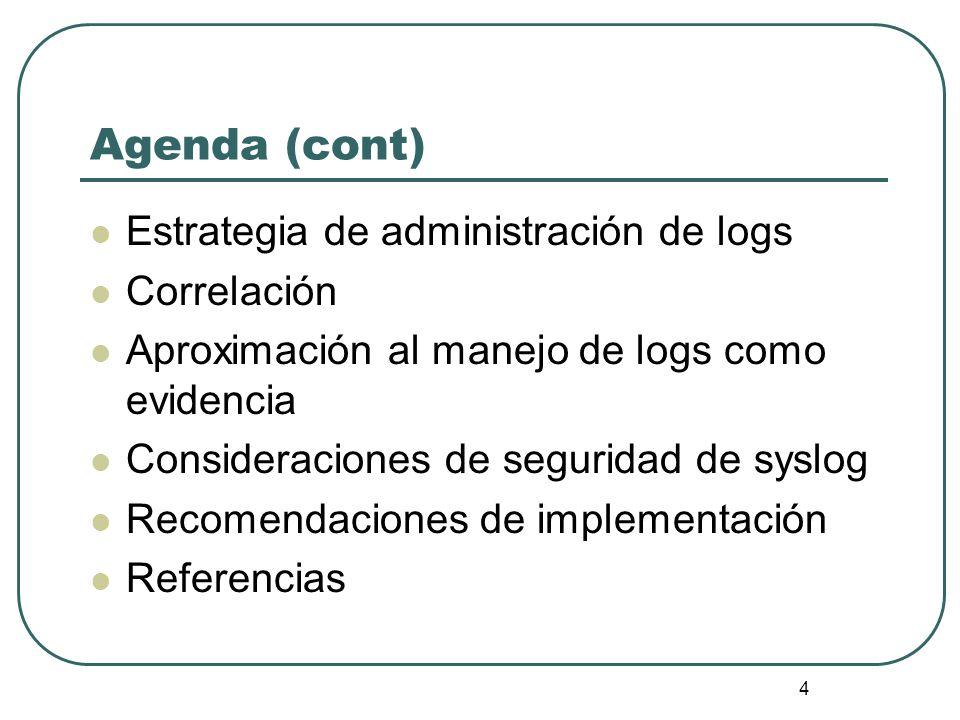 15 Implementación del esquema de consolidación Servidores de syslog-ng Evento de syslog