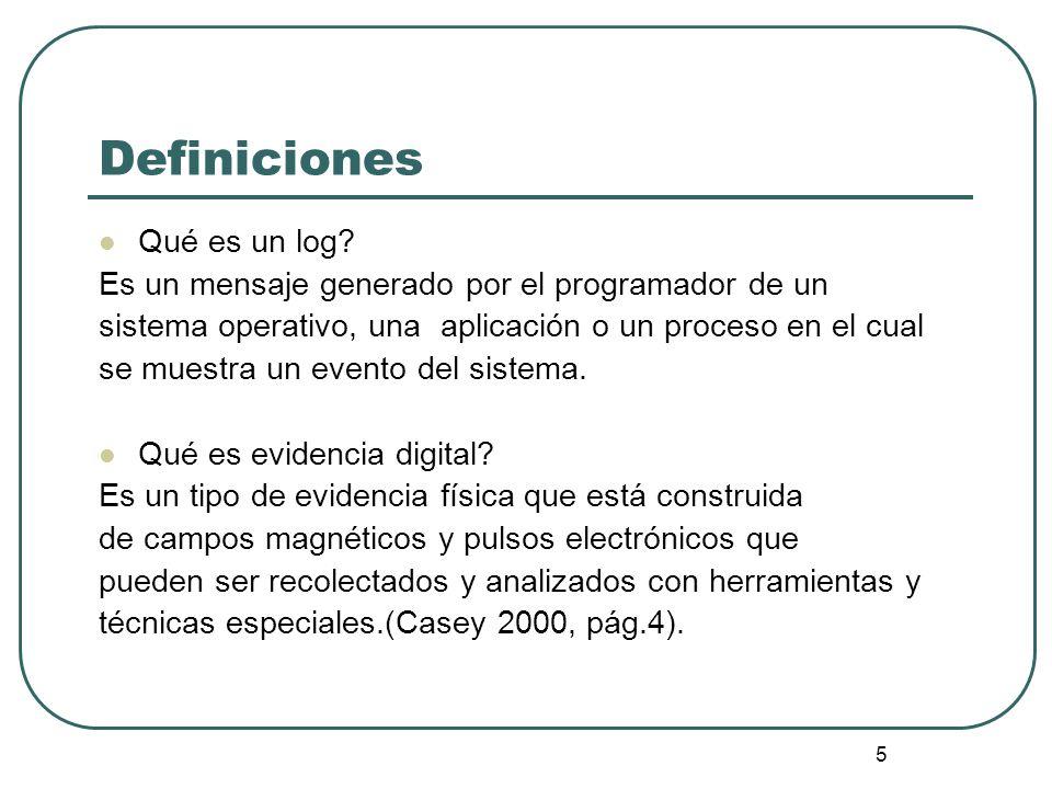 6 Definiciones (Cont) Qué es consolidación de logs.