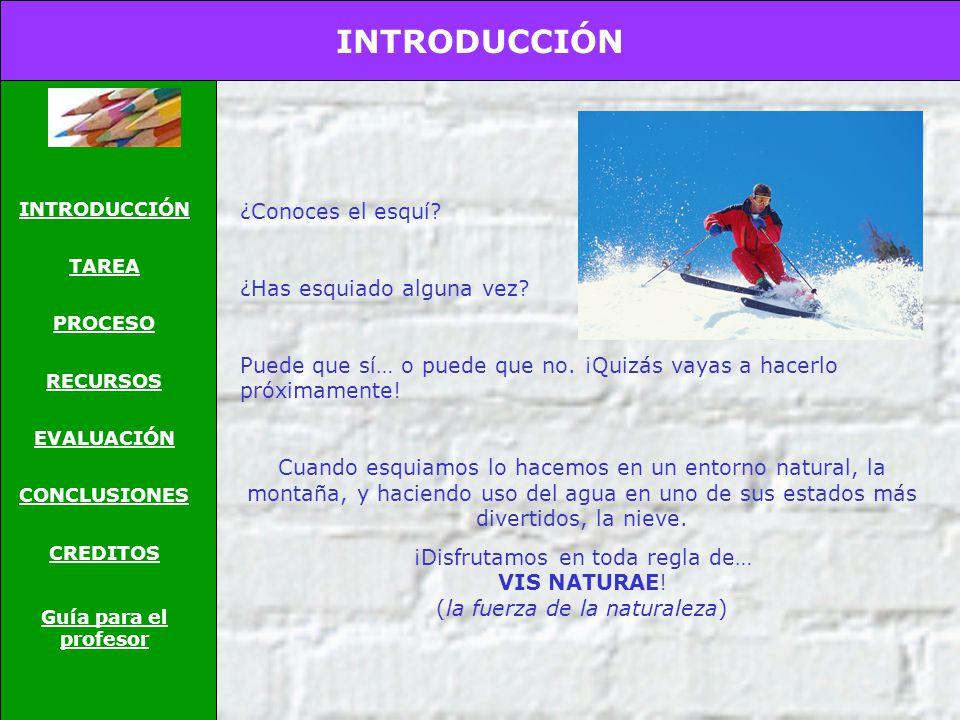 INTRODUCCIÓN TAREA PROCESO RECURSOS EVALUACIÓN CONCLUSIONES CREDITOS Guía para el profesor ¿Conoces el esquí.
