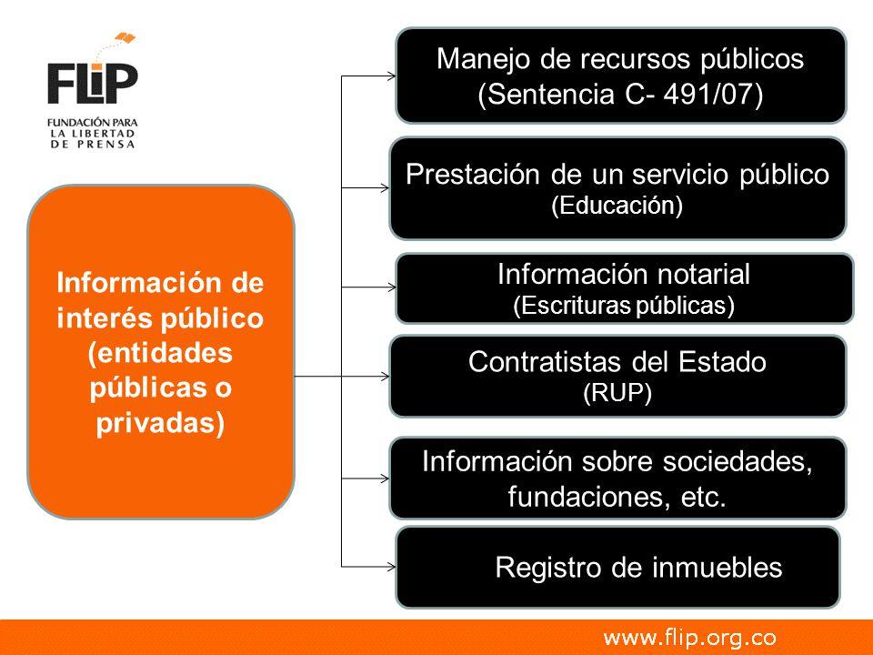 Prestación de un servicio público (Educación) Registro de inmuebles Contratistas del Estado (RUP) Información de interés público (entidades públicas o