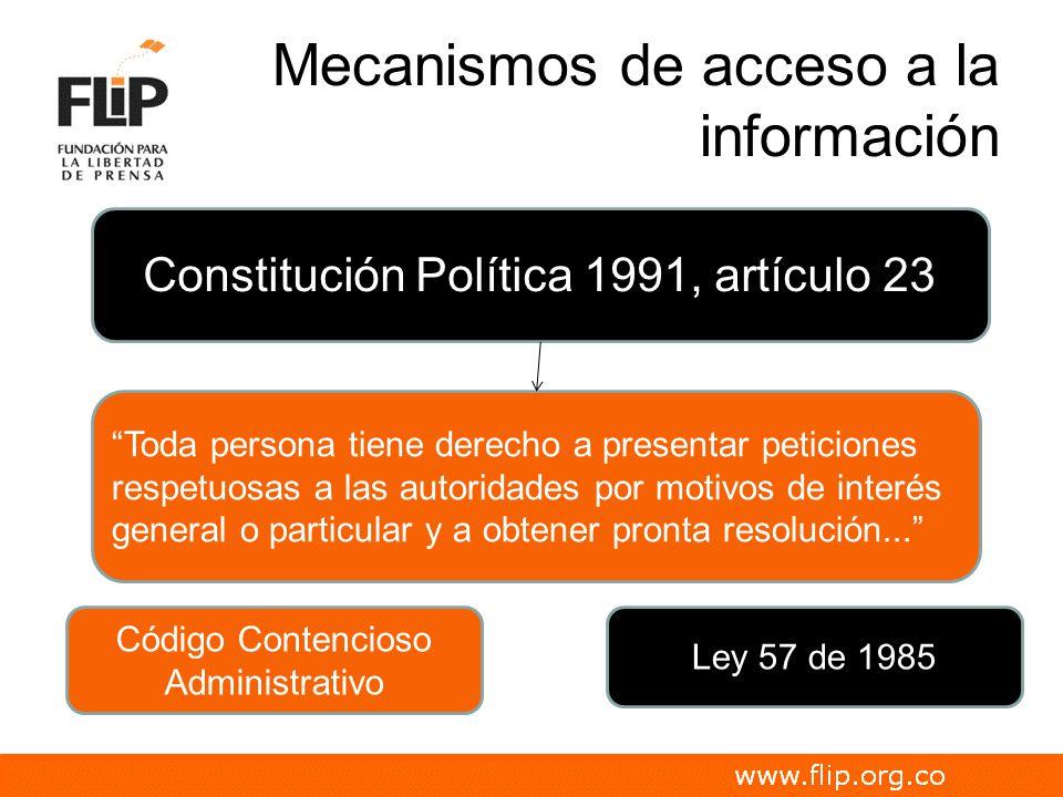 Mecanismos de acceso a la información Código Contencioso Administrativo Ley 57 de 1985 Constitución Política 1991, artículo 23 Toda persona tiene dere