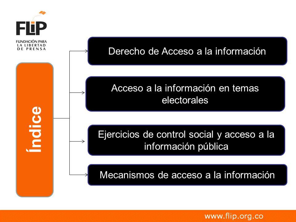 Índice Derecho de Acceso a la información Acceso a la información en temas electorales Ejercicios de control social y acceso a la información pública