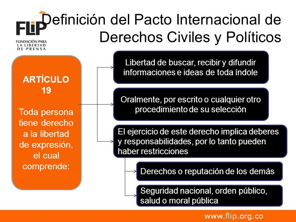 Definición del Pacto Internacional de Derechos Civiles y Políticos ARTÍCULO 19 Toda persona tiene derecho a la libertad de expresión, el cual comprend