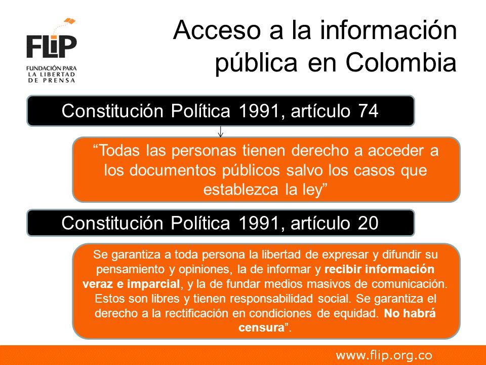 Acceso a la información pública en Colombia Constitución Política 1991, artículo 74 Todas las personas tienen derecho a acceder a los documentos públi