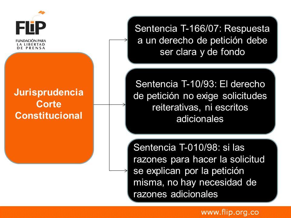 Jurisprudencia Sentencia T-10/93: El derecho de petición no exige solicitudes reiterativas, ni escritos adicionales Sentencia T-010/98: si las razones