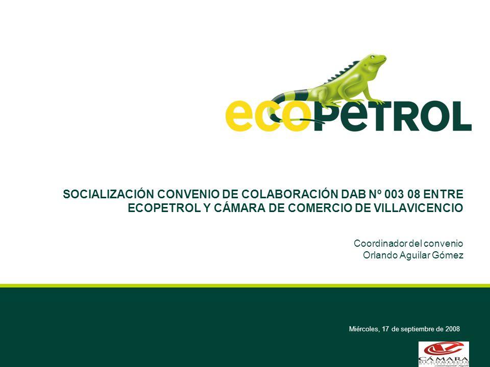 Miércoles, 17 de septiembre de 2008 SOCIALIZACIÓN CONVENIO DE COLABORACIÓN DAB Nº 003 08 ENTRE ECOPETROL Y CÁMARA DE COMERCIO DE VILLAVICENCIO Coordin
