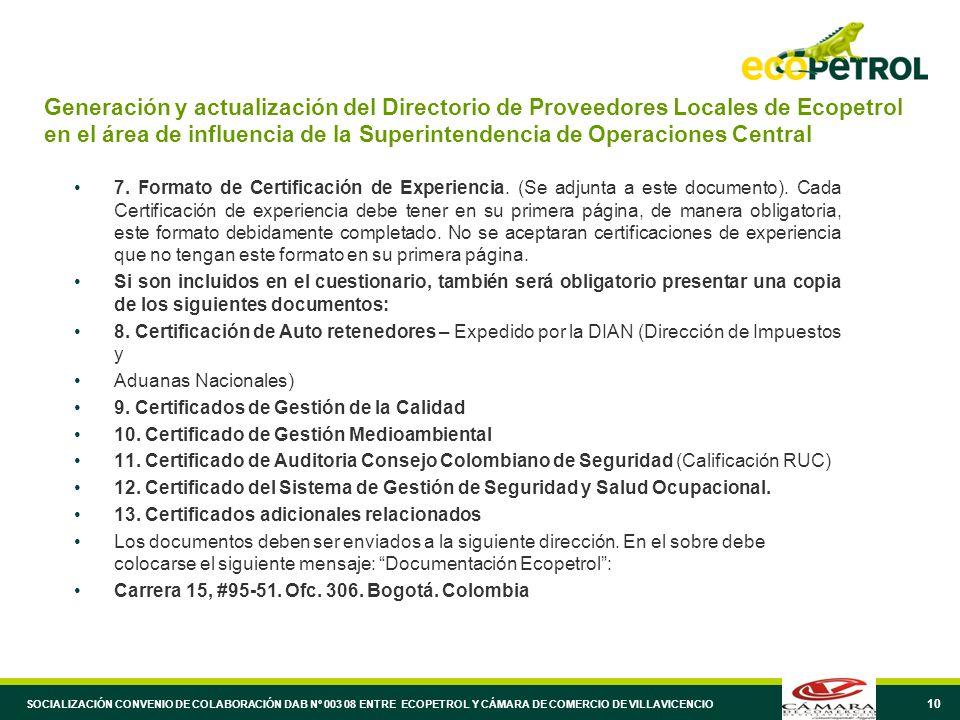 10 Generación y actualización del Directorio de Proveedores Locales de Ecopetrol en el área de influencia de la Superintendencia de Operaciones Centra