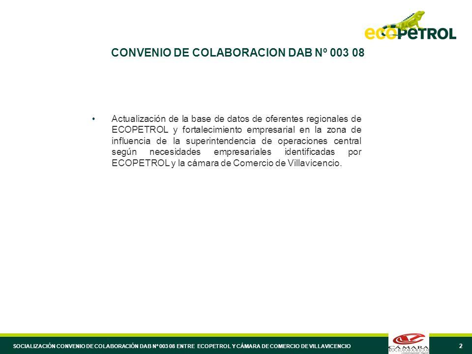 2 CONVENIO DE COLABORACION DAB Nº 003 08 Actualización de la base de datos de oferentes regionales de ECOPETROL y fortalecimiento empresarial en la zo