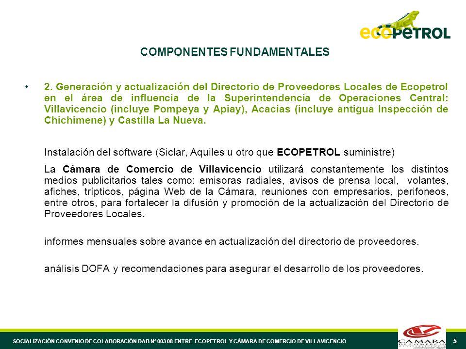 55 COMPONENTES FUNDAMENTALES 2. Generación y actualización del Directorio de Proveedores Locales de Ecopetrol en el área de influencia de la Superinte