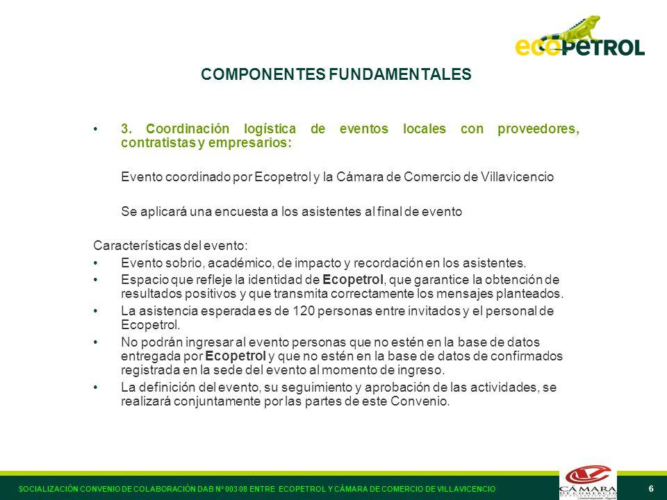 6 COMPONENTES FUNDAMENTALES 3. Coordinación logística de eventos locales con proveedores, contratistas y empresarios: Evento coordinado por Ecopetrol