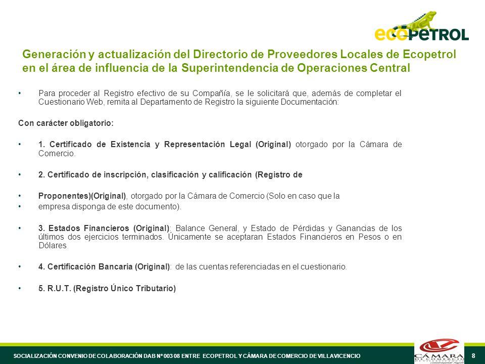 8 Generación y actualización del Directorio de Proveedores Locales de Ecopetrol en el área de influencia de la Superintendencia de Operaciones Central