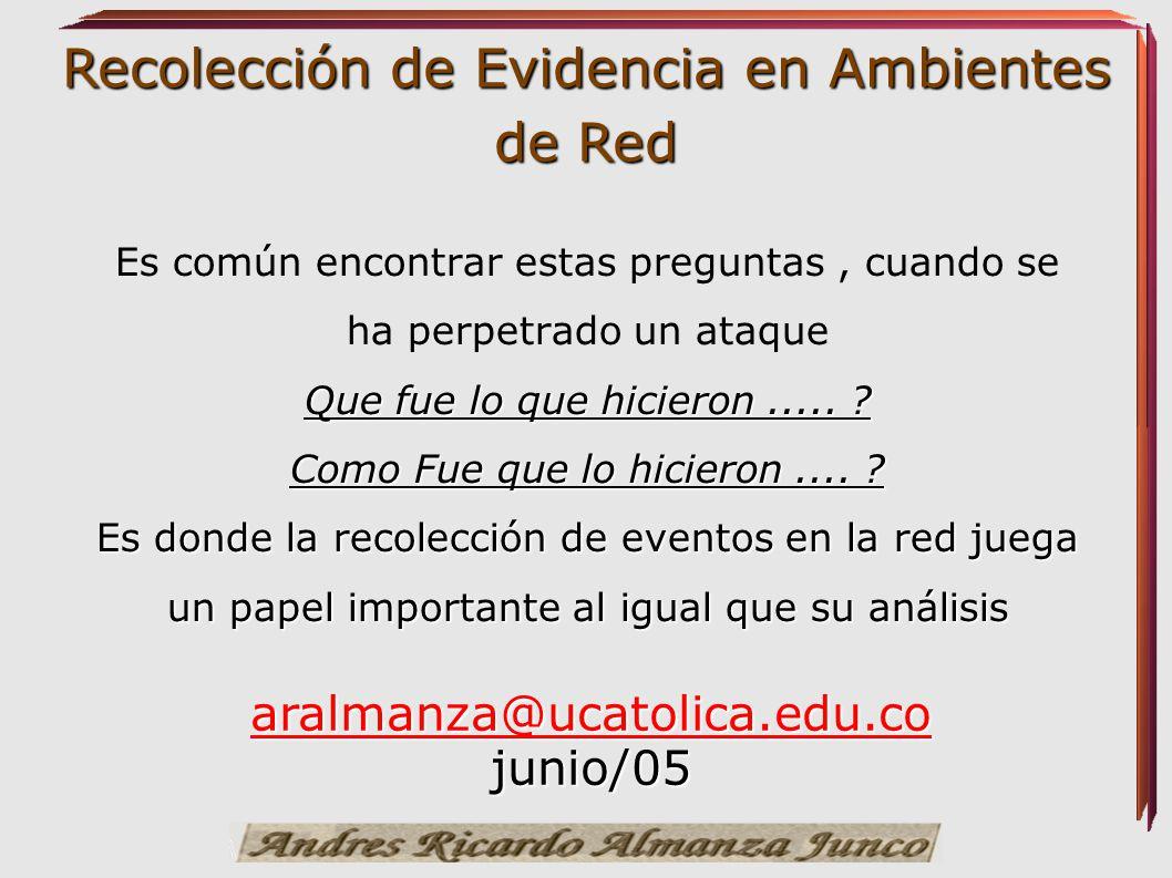 Recolección de Evidencia en Ambientes de Red Herramientas utilizadas en el proceso Algunas otras herramientas que ayudan en el proceso de recolección de la información.