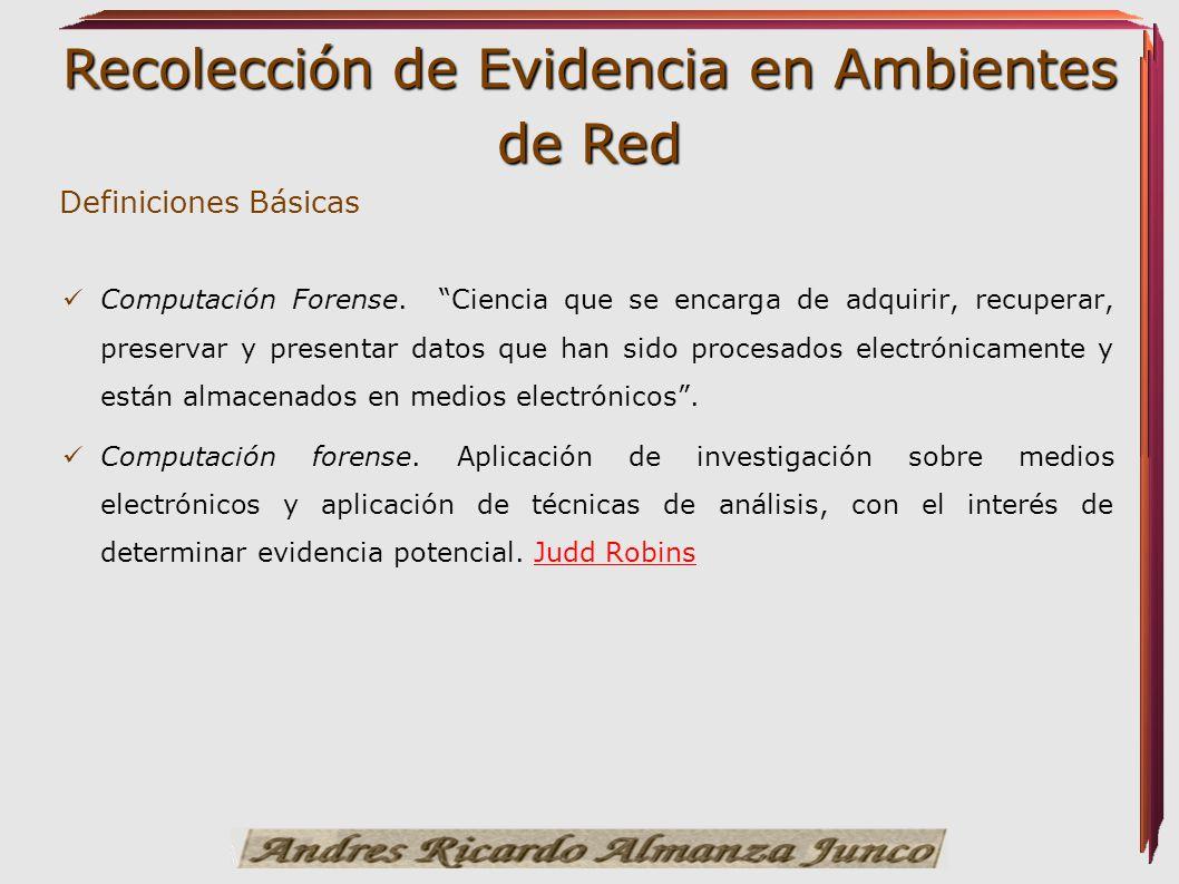 Recolección de Evidencia en Ambientes de Red Definiciones Básicas Computación Forense. Ciencia que se encarga de adquirir, recuperar, preservar y pres