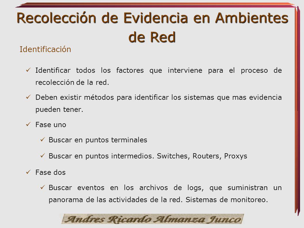 Recolección de Evidencia en Ambientes de Red Identificación Identificar todos los factores que interviene para el proceso de recolección de la red. De
