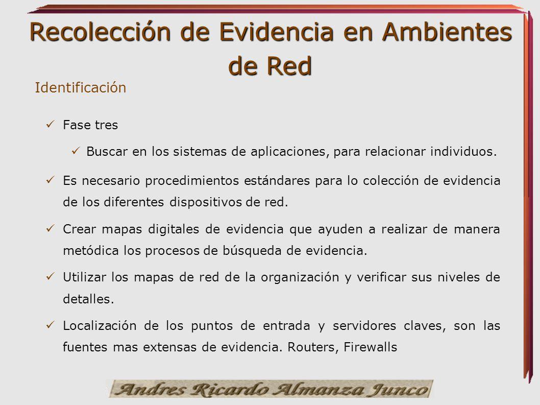 Recolección de Evidencia en Ambientes de Red Identificación Fase tres Buscar en los sistemas de aplicaciones, para relacionar individuos. Es necesario
