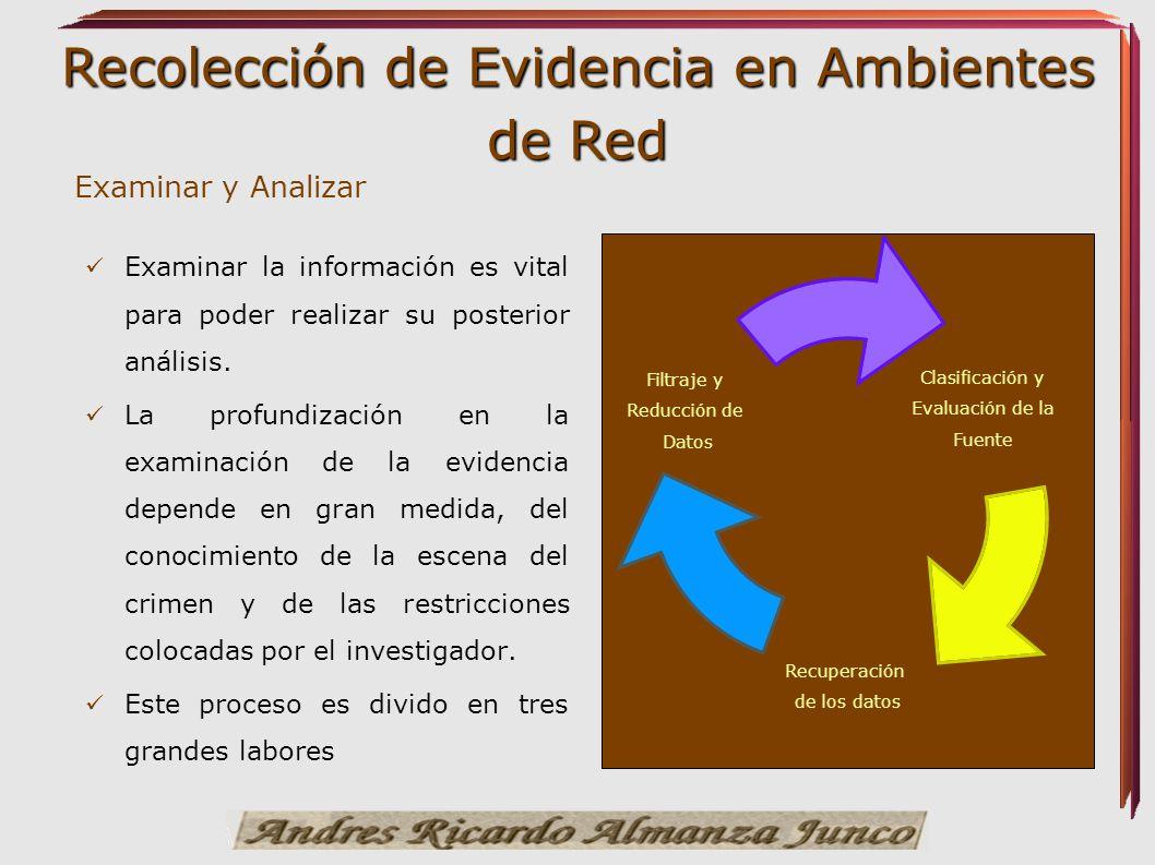 Recolección de Evidencia en Ambientes de Red Examinar y Analizar Examinar la información es vital para poder realizar su posterior análisis. La profun